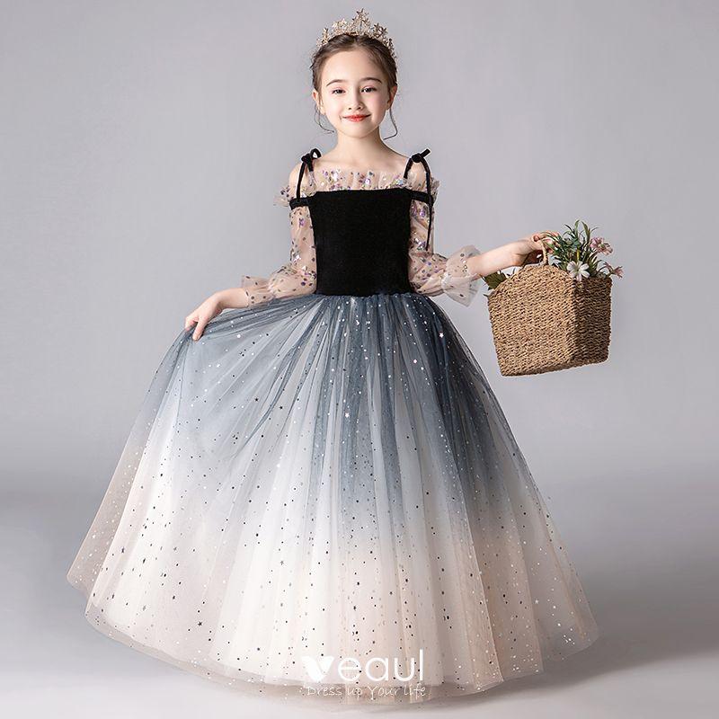 Romántico Negro Degradado De Color Vestidos Para Niñas 2019 A Line Princess Fuera Del Hombro Hinchado 34 ærmer Lentejuelas Glitter Tul Largos