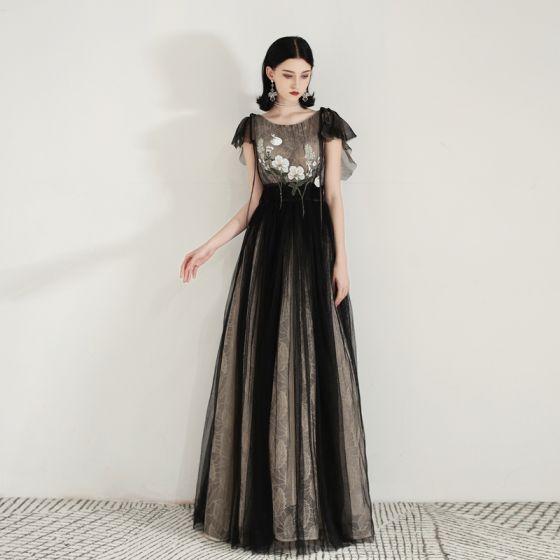 Piękne Czarne Sukienki Wieczorowe 2020 Princessa Wycięciem Bez Rękawów Aplikacje Z Koronki Długie Wzburzyć Bez Pleców Sukienki Wizytowe