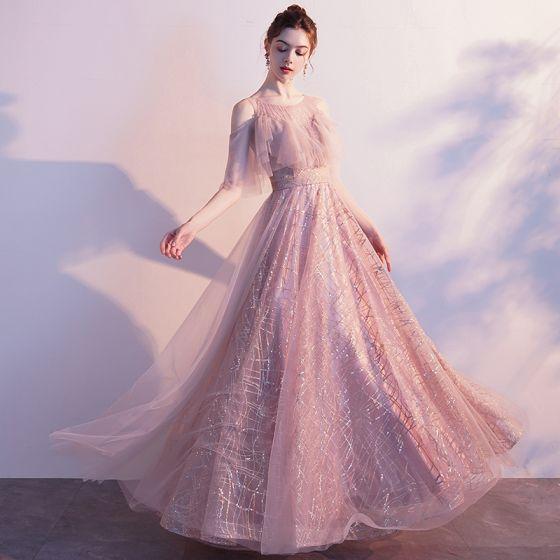 Fine Rødmende Rosa Gjennomsiktig Selskapskjoler 2020 Prinsesse Scoop Halsen Korte Ermer Dusk Beading Glitter Tyll Lange Buste Ryggløse Formelle Kjoler