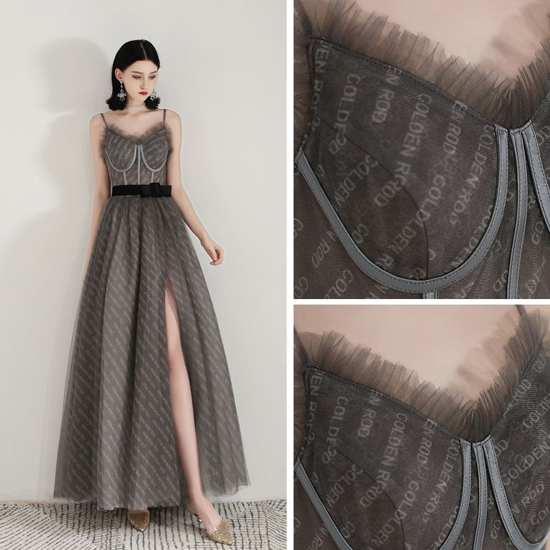 Chic / Beautiful Grey Evening Dresses  2020 A-Line / Princess Spaghetti Straps Sleeveless Bow Sash Split Front Floor-Length / Long Ruffle Backless Formal Dresses