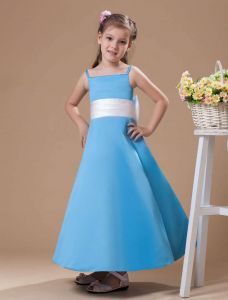 Blue Spaghetti Sash Bow Satin Flower Girl Dress