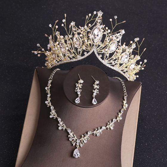 Luxus / Herrlich Gold Diadem Ohrringe Halskette Brautschmuck 2019 Metall Strass Perlenstickerei Hochzeit Brautaccessoires