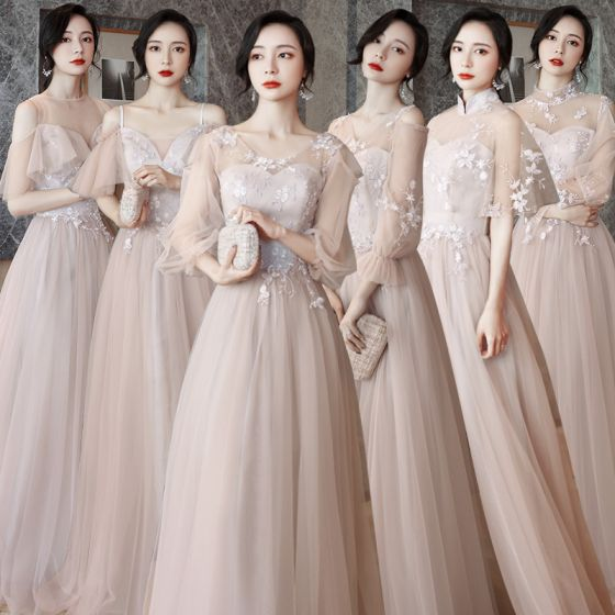 Affordable Pearl Pink Bridesmaid Dresses 2021 A-Line / Princess Backless Appliques Lace Floor-Length / Long Ruffle