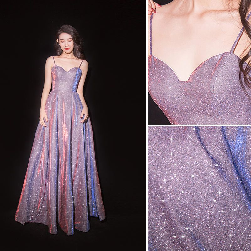 Charming Purple Starry Sky Evening Dresses  2019 A-Line / Princess Spaghetti Straps Glitter Polyester Sleeveless Backless Floor-Length / Long Formal Dresses