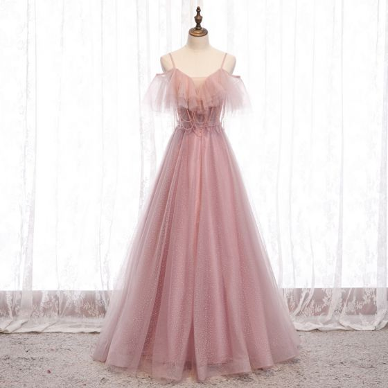 Affordable Blushing Pink Evening Dresses  2020 A-Line / Princess Spaghetti Straps Short Sleeve Beading Glitter Tulle Floor-Length / Long Ruffle Backless Formal Dresses