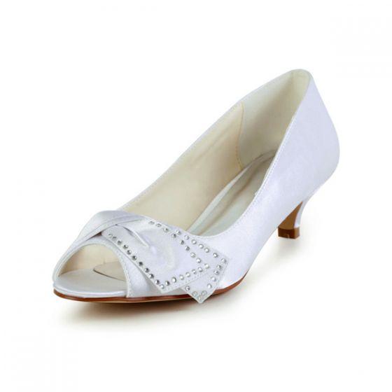 Chic Et Peep Toe Strass Incrustés Blanc Satin Petit Talon Chaussures De Mariée