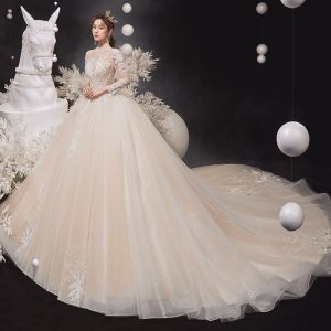 Illusion Champagne See-through Bridal Wedding Dresses 2020 Ball Gown High Neck Long Sleeve Backless Glitter Tulle Appliques Lace Beading Cathedral Train Ruffle