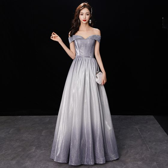 Chic / Beautiful Gradient-Color Silver Glitter Evening Dresses  2019 A-Line / Princess Off-The-Shoulder Short Sleeve Backless Floor-Length / Long Formal Dresses