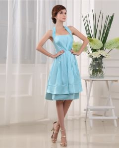Halter Sleeveless Zipper Pleated Knee Length Charmeuse Woman Bridesmaid Dress