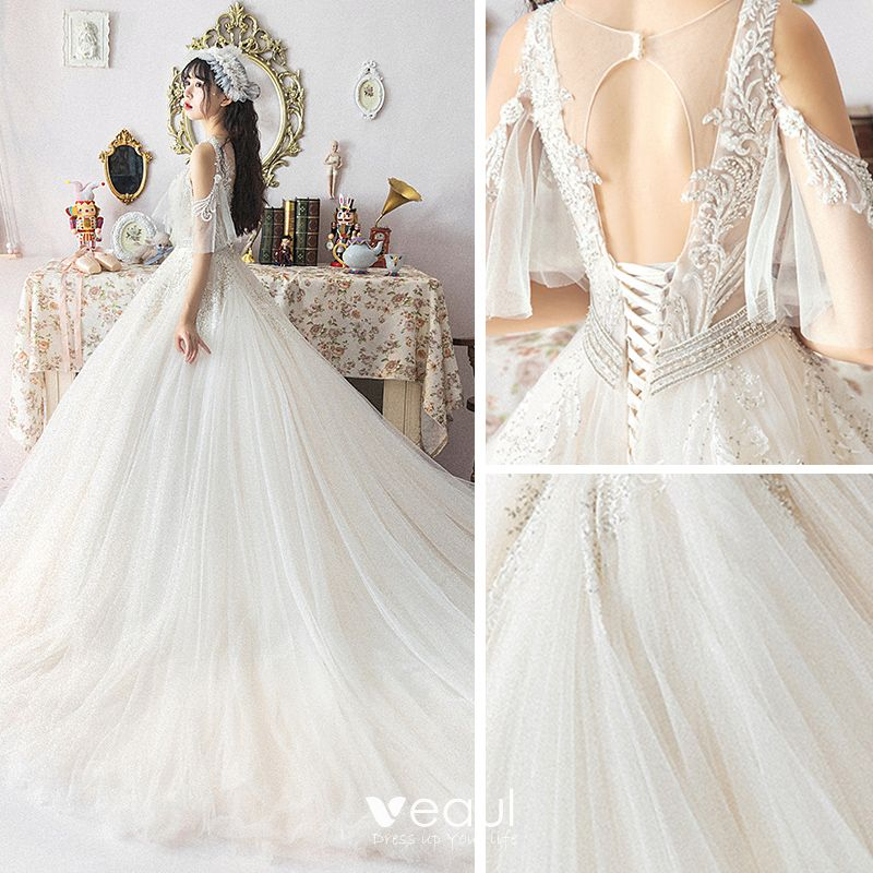 Illusion Ivory Wedding Dresses 2019 A-Line / Princess See-through Deep V-Neck Backless 1/2 Sleeves Appliques Lace Beading Chapel Train Ruffle Spring