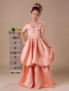 Cute Taffeta Ruffle Flower Girl Dress