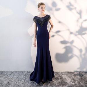 Schöne Marineblau Abendkleider 2019 Meerjungfrau Rundhalsausschnitt Perlenstickerei Quaste Ärmellos Festliche Kleider