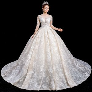 Charming Champagne See-through Wedding Dresses 2020 Ball Gown Scoop Neck 3/4 Sleeve Backless Appliques Lace Beading Royal Train Ruffle