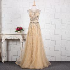 Luxury / Gorgeous Champagne Handmade  Beading Evening Dresses  2019 A-Line / Princess Crystal Sequins Rhinestone Scoop Neck Sleeveless Floor-Length / Long Formal Dresses