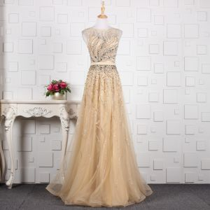 Luxury / Gorgeous Champagne Handmade  Beading Evening Dresses  2019 A-Line / Princess Crystal Sequins Rhinestone Scoop Neck Sleeveless Floor-Length / Long Formal Dresses