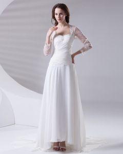 Długosc Podlogi Kwadratowych Linke Plisowany Szyfon Kobieta Imperium Koronki Suknia Ślubna Suknie Ślubne