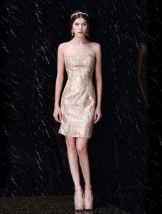 Schönen Goldenen Paillettenkleid Rückenfreies Kurzes Partykleid