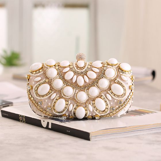 Chic / Beautiful Beige Square Clutch Bags 2020 Metal Beading Rhinestone