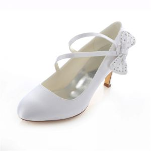 Beautiful Satin Wedding Shoes Stiletto Heels White Pumps With Bowknot
