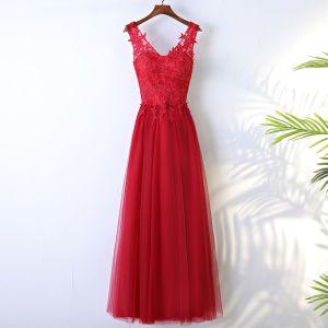 Schöne Rot Festliche Kleider 2017 Spitze Blumen V-Ausschnitt Ärmellos Knöchellänge A Linie Abendkleider