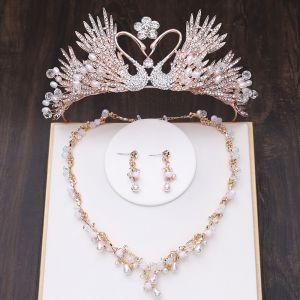 Unique Gold Brautschmuck 2019 Metall Diadem Halskette Quaste Ohrringe Kristall Perle Strass Hochzeit Brautaccessoires