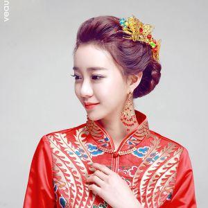 Kinesisk Stil Røde Perle Sommerfugl Hovedbeklædning / Øreringe Todelt