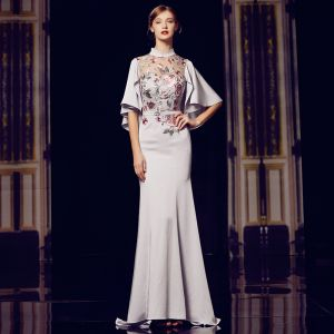 Chinese style Grey See-through Evening Dresses  2020 Trumpet / Mermaid High Neck 1/2 Sleeves Embroidered Flower Sash Sweep Train Ruffle Formal Dresses