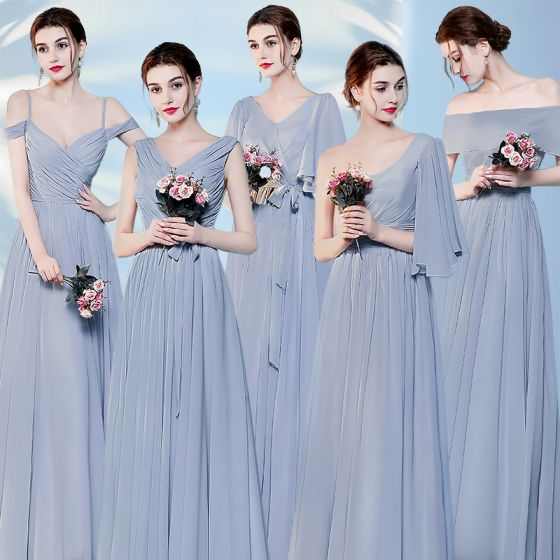 Chic / Beautiful Sky Blue Bridesmaid Dresses 2017 A-Line / Princess Backless Ankle Length Bridesmaid Wedding Party Dresses