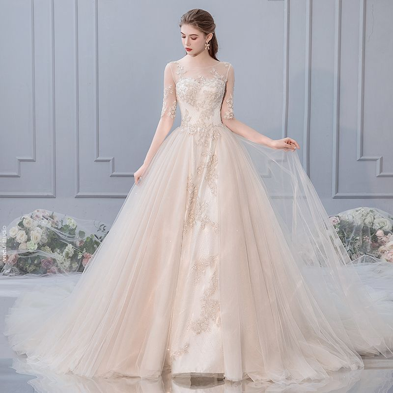 Chic / Beautiful Champagne Wedding Dresses 2019 A-Line / Princess Scoop Neck Beading Lace Flower 1/2 Sleeves Cathedral Train