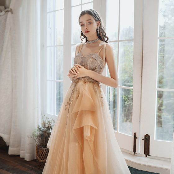 High-end Champagne Prom Dresses 2020 A-Line / Princess Spaghetti Straps Sleeveless Beading Glitter Tulle Sweep Train Ruffle Backless Formal Dresses