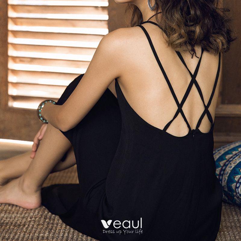 Elegant Evening Dresses  2017 Evening Party Party Dresses Black Sheath / Fit Ankle Length Split Front Backless Sleeveless Shoulders