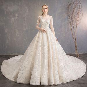Elegant Champagne Wedding Dresses 2019 A-Line / Princess Scoop Neck Appliques Lace Flower Sequins 3/4 Sleeve Backless Royal Train