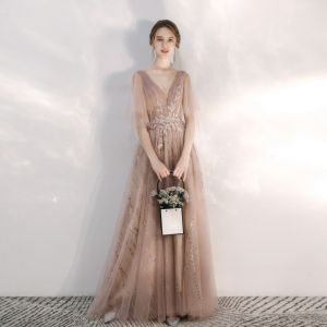 Schöne Champagner Abendkleider 2020 A Linie V-Ausschnitt Glanz Perlenstickerei Spitze Blumen Strass Pailletten 1/2 Ärmel Rückenfreies Lange Festliche Kleider
