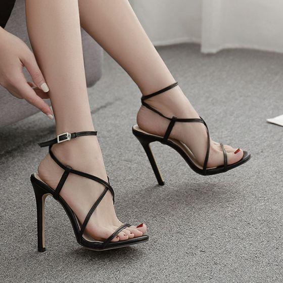 Sexy Black Street Wear Womens Sandals 2020 Ankle Strap X-Strap 11 cm Stiletto Heels Open / Peep Toe Sandals