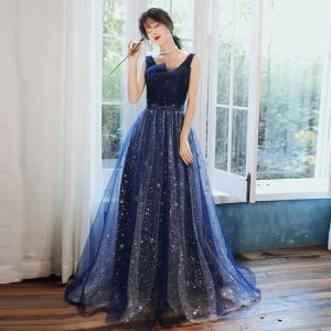 Chic / Beautiful Navy Blue Evening Dresses  2020 A-Line / Princess V-Neck Sleeveless Appliques Lace Beading Sequins Court Train Ruffle Backless Formal Dresses