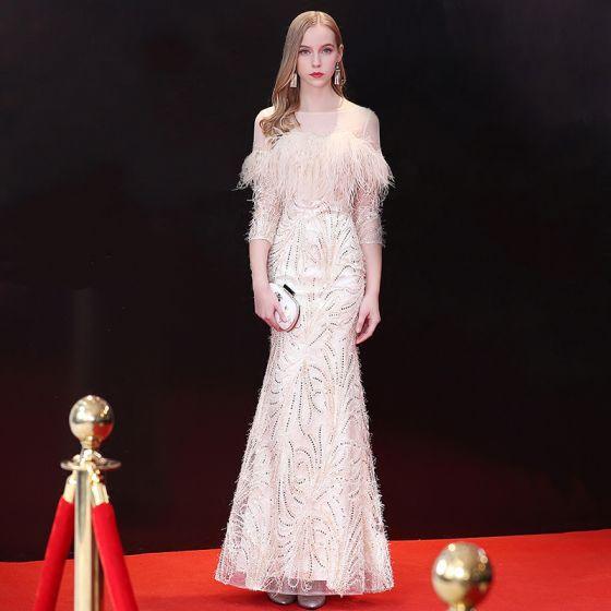 Elegant Champagne Evening Dresses  2018 Trumpet / Mermaid Sequins Feather Tassel Scoop Neck Backless 3/4 Sleeve Ankle Length Formal Dresses