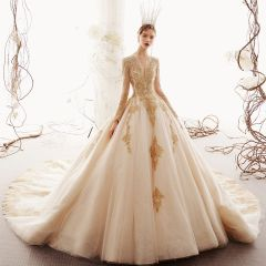 Luxury / Gorgeous Champagne Wedding Dresses 2019 Ball Gown Deep V-Neck Beading Lace Flower Long Sleeve Backless Cathedral Train