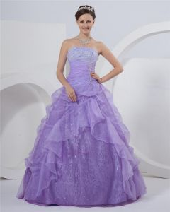 Ball Gown Strapless Floor Length Ruffle Beading Taffeta Satin Prom Dress