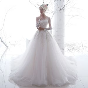 Chic / Beautiful White See-through Wedding Dresses 2020 A-Line / Princess Scoop Neck Long Sleeve Backless Appliques Lace Chapel Train Ruffle