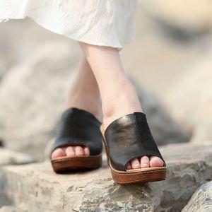 Mooie / Prachtige 2017 6 cm Zwarte Gele Strand Toevallig Tuin / Outdoor Leer Zomer Doorboord Hoge Hakken Plateau Sandalen Peep Toe Sandalen Dames