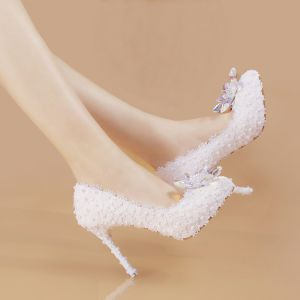 Chic / Beautiful White 2019 Wedding Appliques Beading Pearl Engagement Wedding Shoes