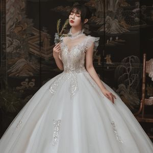 Vintage / Retro Ivory Outdoor / Garden Wedding Dresses 2020 Ball Gown See-through High Neck Sleeveless Backless Appliques Sequins Beading Floor-Length / Long Ruffle