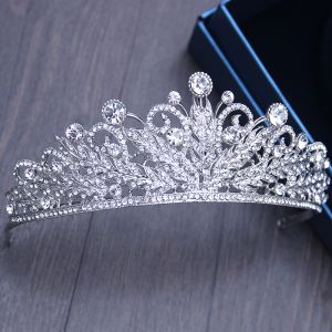 Chic / Beautiful Silver Bridal Jewelry 2017 Metal Beading Crystal Rhinestone Headpieces Wedding Prom Accessories