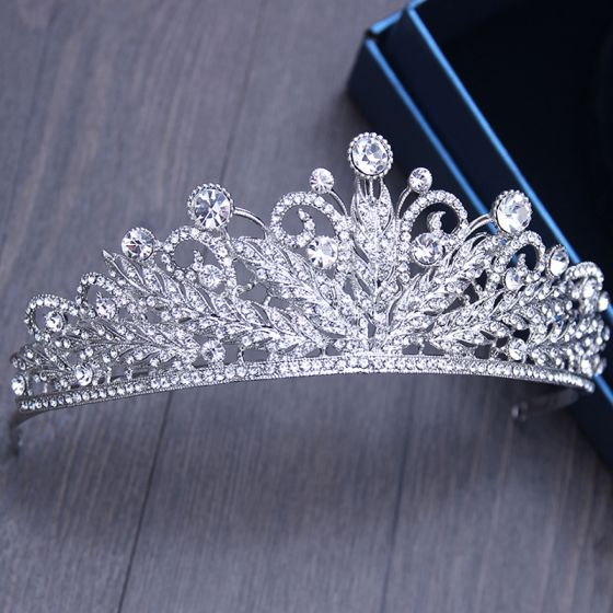 Chic / Beautiful Silver Bridal Jewelry 2017 Metal Beading Crystal Rhinestone Headpieces Wedding Prom Accessories