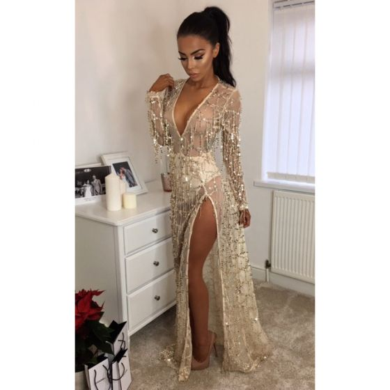 Sexy Champagne Maxi Dresses 2018 See-through Sequins Split Front V-Neck Long Sleeve Floor-Length / Long Women's Clothing