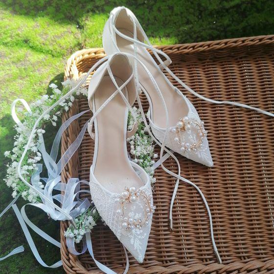Classy Ivory Lace Flower Wedding Shoes 2020 Leather Pearl Rhinestone 6 cm Stiletto Heels Pointed Toe Wedding Heels