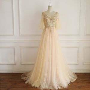 Chic / Beautiful Champagne Evening Dresses  2019 A-Line / Princess V-Neck Beading Pearl Rhinestone Bell sleeves Backless Sweep Train Formal Dresses