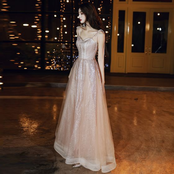 Sparkly Rose Gold Evening Dresses  2020 A-Line / Princess Spaghetti Straps Glitter Sequins Sleeveless Backless Floor-Length / Long Formal Dresses