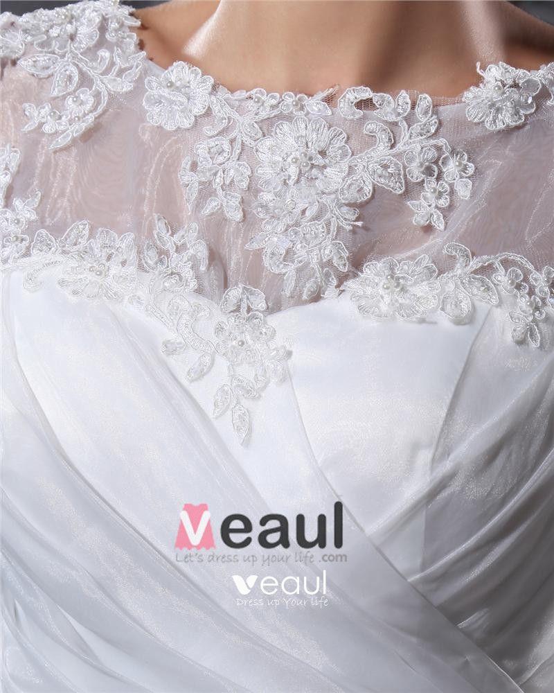 Elegant Yarn Charmeuse Applique Pleated Bateau Floor Length Mermaid Wedding Dress