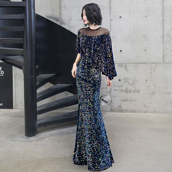 Sparkly Multi-Colors Evening Dresses  2020 Trumpet / Mermaid Sequins Scoop Neck 3/4 Sleeve Floor-Length / Long Formal Dresses